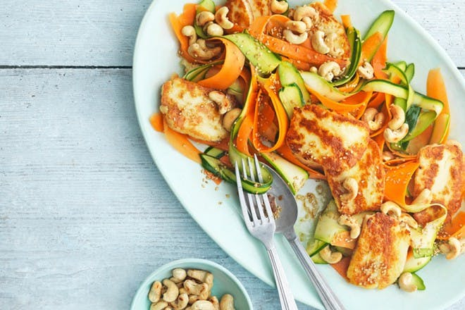 Carrot, courgette and halloumi with ginger dressing