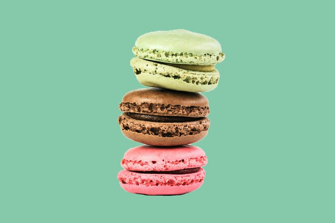 3 macarons piled on top of each other