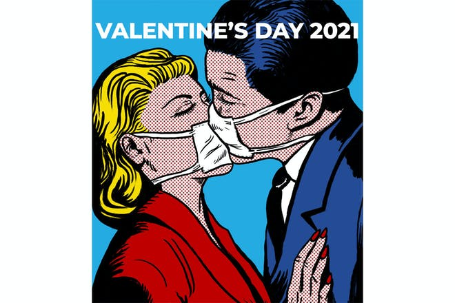 Valentine's Day 2021 meme - man and woman kissing wearing masks
