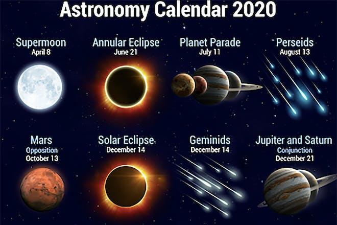 Screenshot from Star Walk 2 app showing an astronomy calendar for 2020