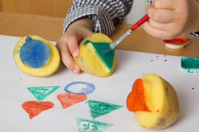 Child potato printing