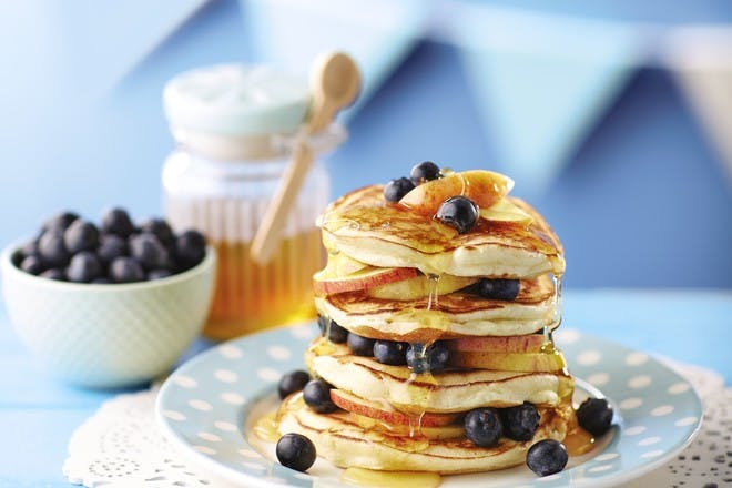 Blueberry and apple pancake stack recipe