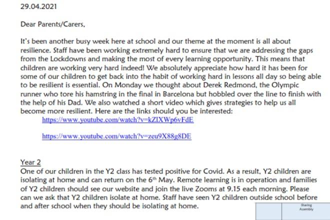 校长给父母的信。在白色背景的黑文本。
