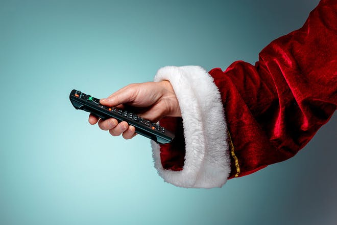 Santa holding remote
