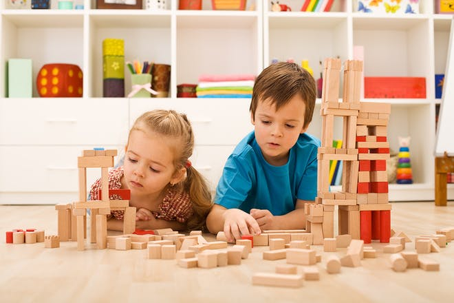 Kids building a tower