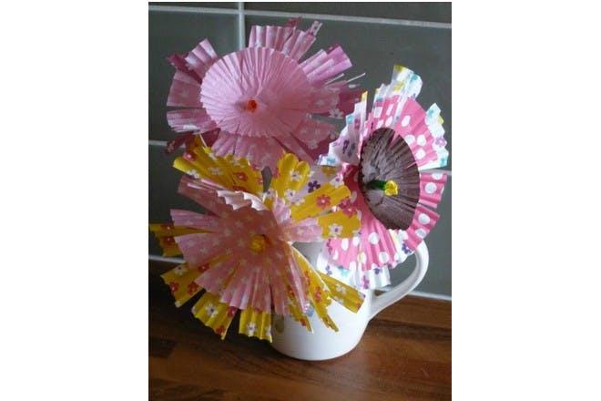 paper flowers in jug