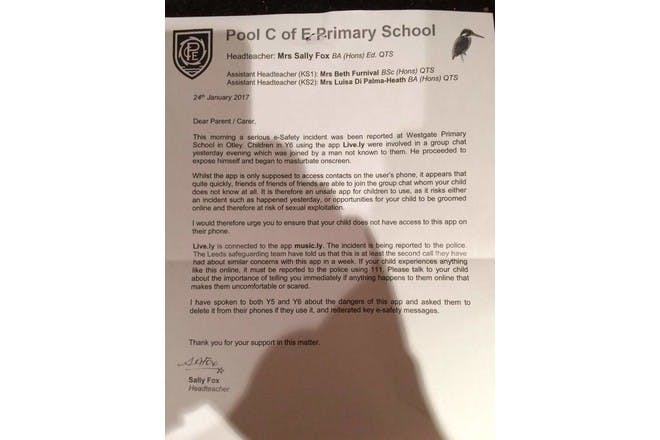 School's letter to parents about E-safety