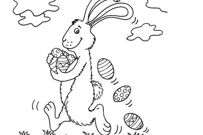 Easter bunny with eggs Easter colouring picture