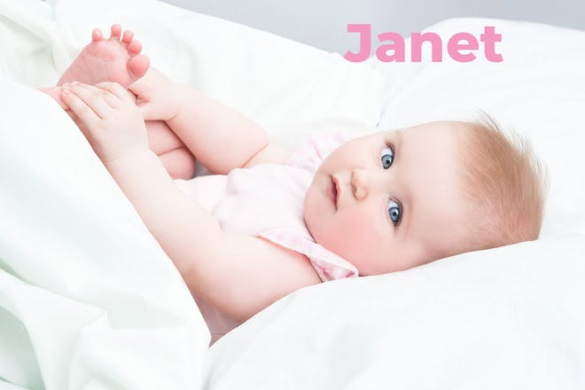 Baby in pink dress. Name Janet written in text