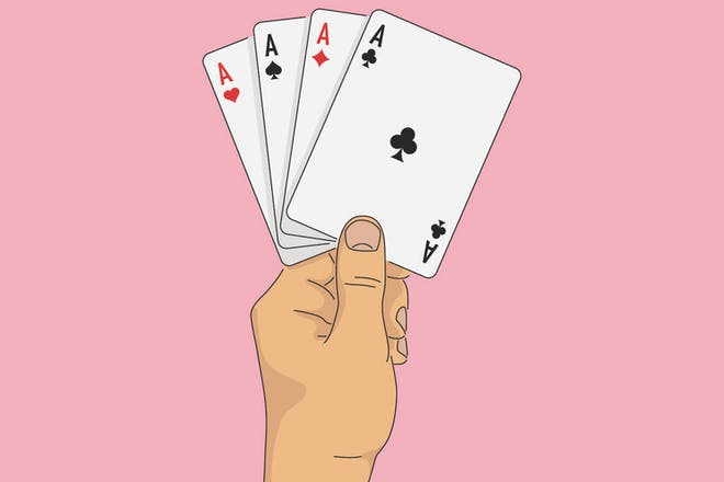 Illustration of hand holding four cards