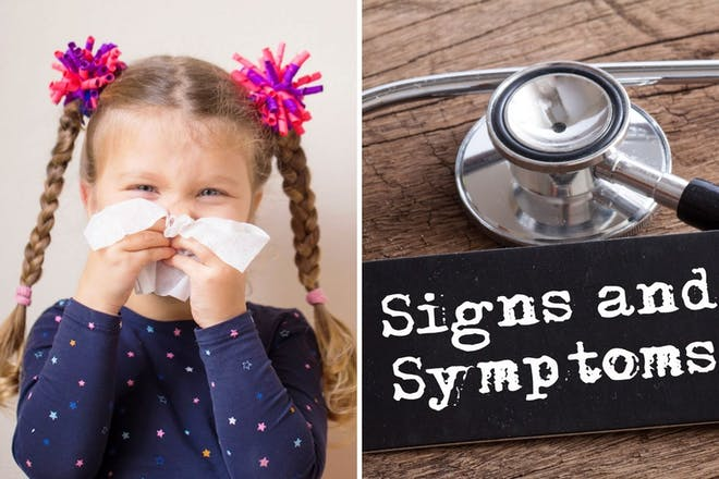 Left: Girl holding tissue to noseRight: Sign saying Signs and symptoms