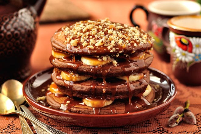 13. Chocolate pancakes with bananas, caramel and walnuts
