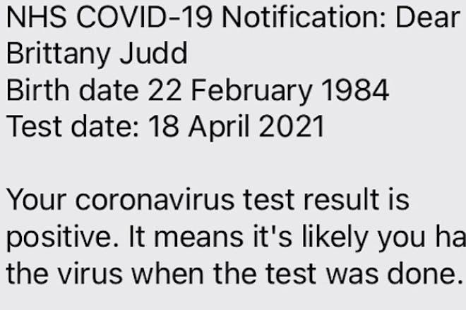 Coronavirus test result