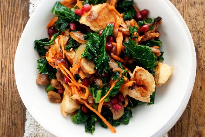 Turkey, kale and carrot stir-fry with pomegranate and chestnuts