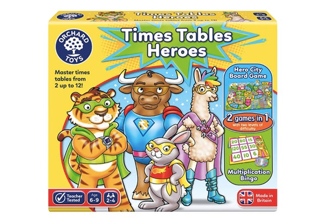 Box for times tables heroes maths game showing animals like a tiger, rabbit and bull dressed as superheroes