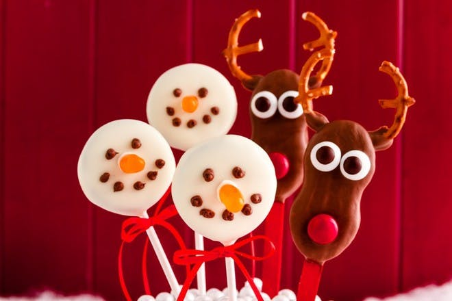 Snowman and deer chocolate lollies