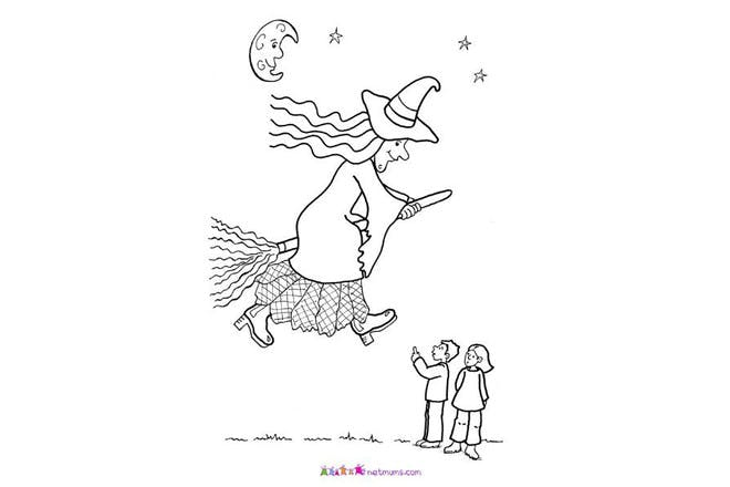 Halloween colouring page of witch on broomstick