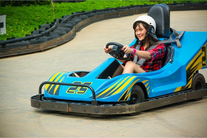 Woman go karting
