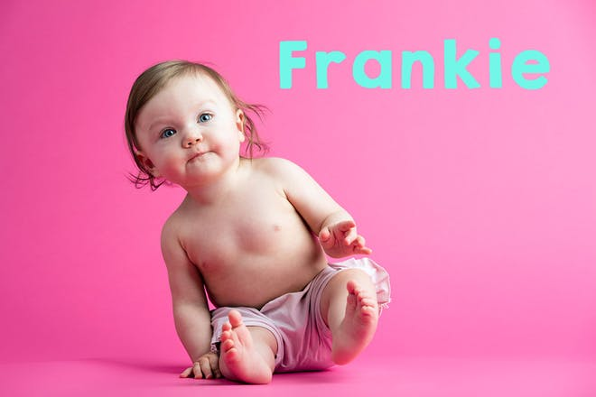 Baby sitting down about to fall over. Text says Frankie