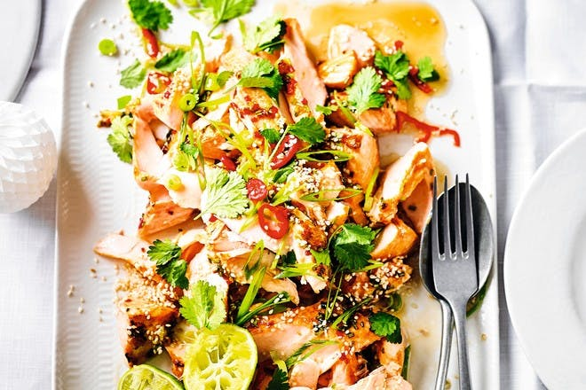 Roast salmon with soy, orange and chilli recipe