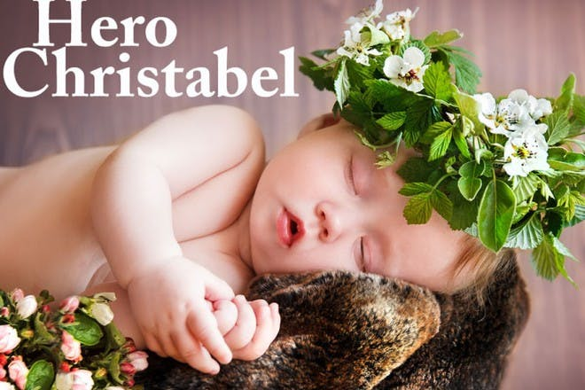 baby with leaf crown sleeping