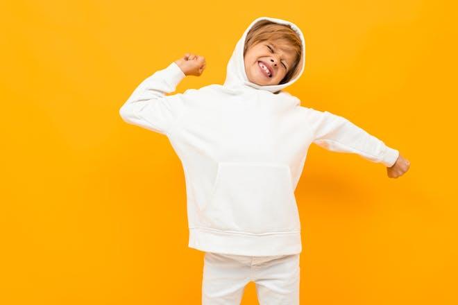 Child's hoodie with drawstring hood