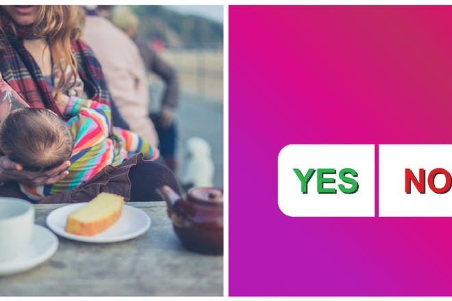 Right: Mum breastfeeding baby in a cafe; Left: Yes or no poll