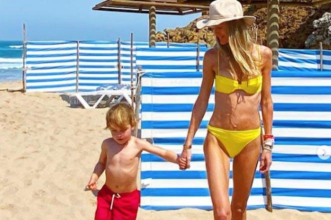 Boy and mum on beach