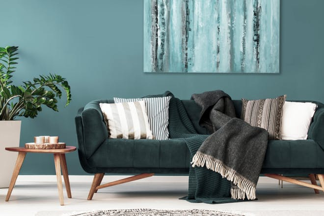 Sofa upholstered item without fire safety label