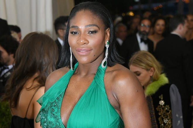Serena Williams wearing green ball gown