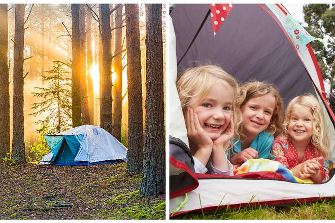 Left: camping in a forest; Right: children in a tent