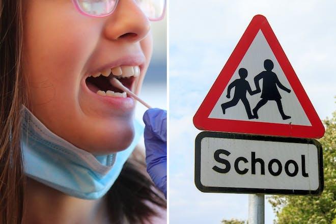 Left: Girl coronavirus test.Right: School sign