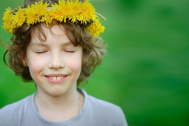 Boy with flower crown