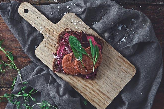 Quorn vegan pepperoni sandwich