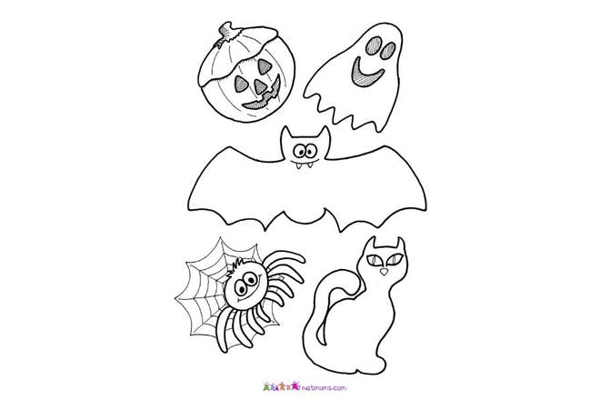 Halloween colouring page of halloween decorations