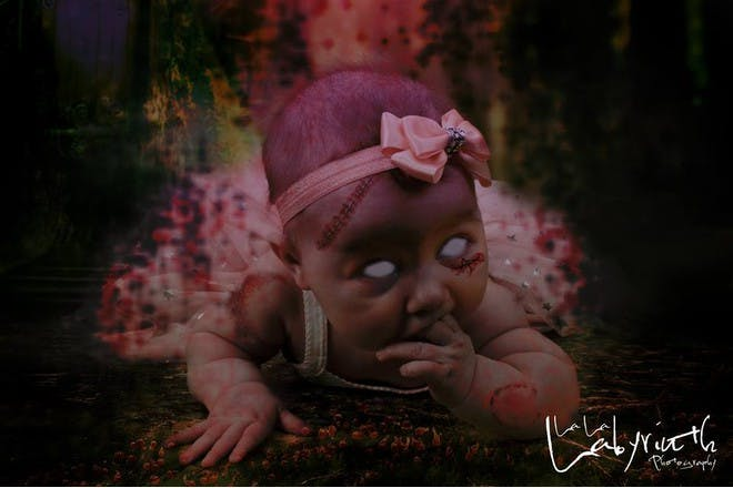 baby made to look like a zombie