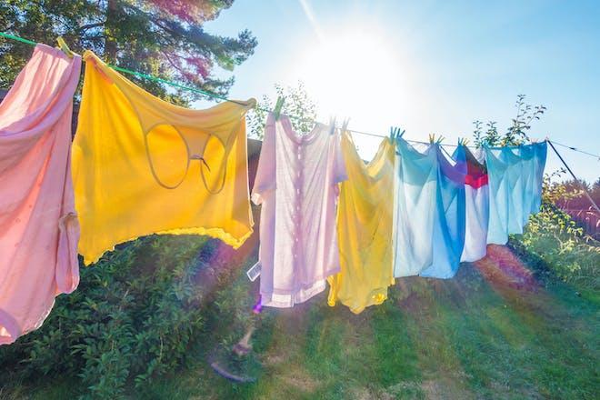 Washing on a washing line