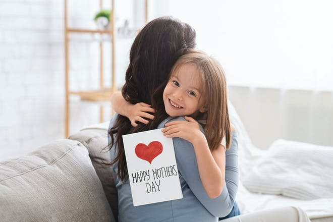 Mother and daughter with card