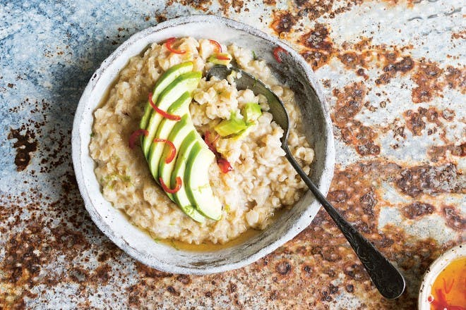Avocado and chilli savoury porridge