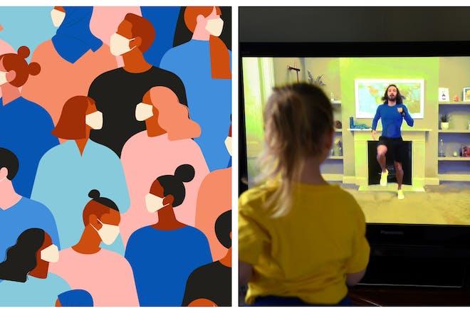 Little girl watching Joe Wicks on TV