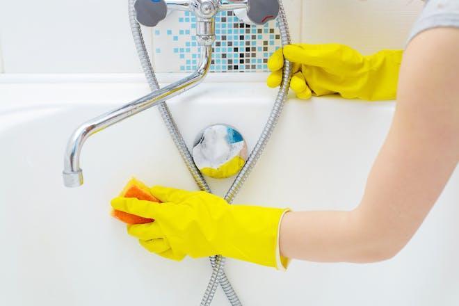Scrubbing the bath