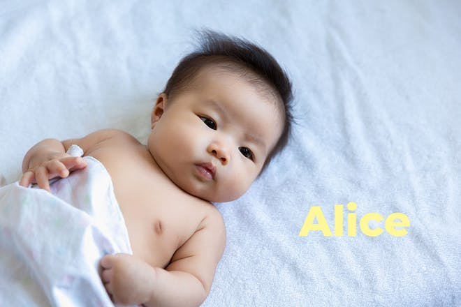 Asian baby lying down. Name Alice written in text