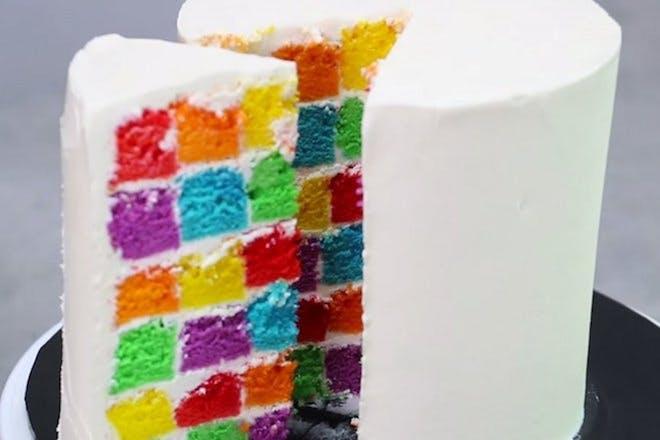 Rainbow checkerboard cake