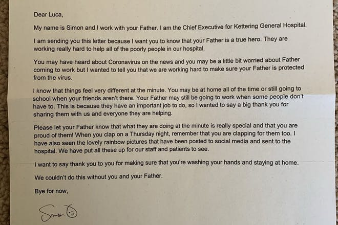 NHS letter thanking staff's kids