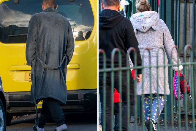 left: man in dressing gownRight: Woman in dressing Gown