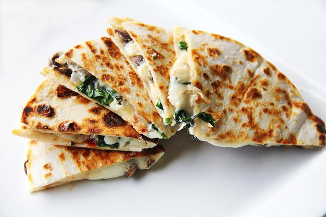 Spinach and cheese quesadilla