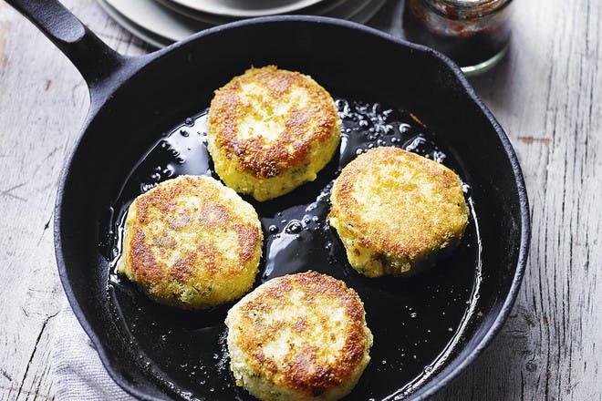 Stilton parsnip and potato cakes