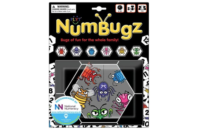 Numbugz box showing hexagonal tiles with bugs on