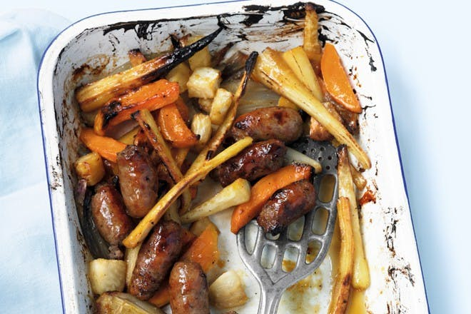 maple sausage and root veg