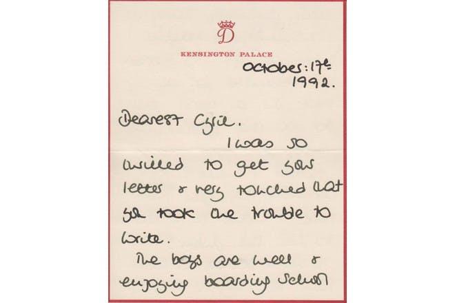 Princess Diana written letter 1
